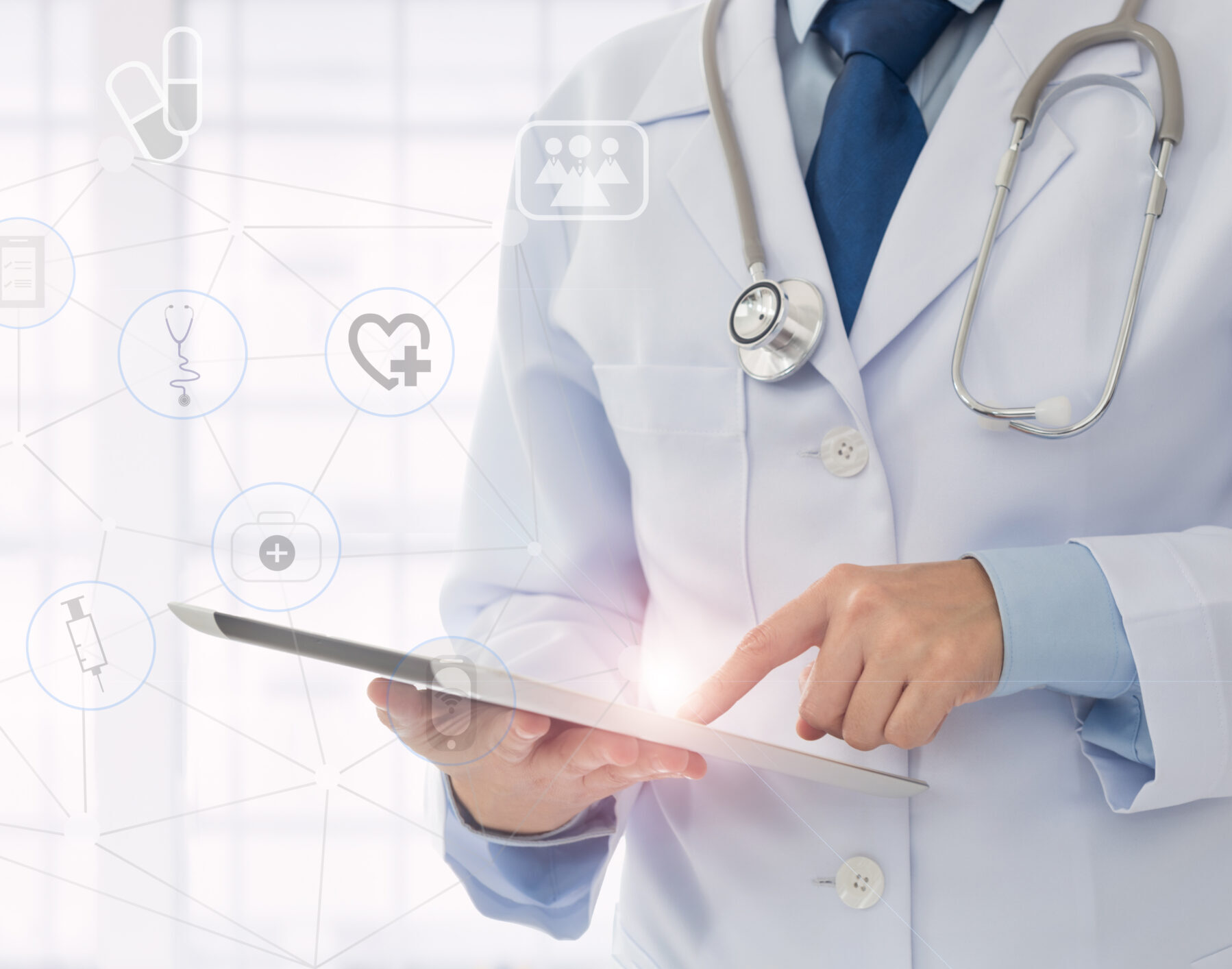 Medical,Technology,Or,Medical,Network.,Doctor,Using,Digital,Tablet,With